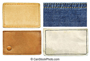 Leather label isolated