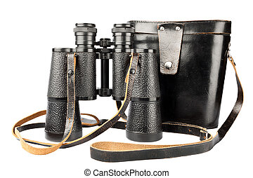 Old antic binocular coated with leather and it's black case with a long strap, isolated on white background