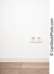 Double electricity power socket (european standard) on blank...