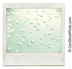 Designed grungy instant film frame with abstract liquid filling isolated on white, kind of a background