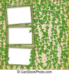Grunge paper frames  in scrapbooking style with leaves