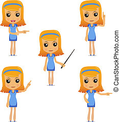 set of funny cartoon housewife in various poses for use in...