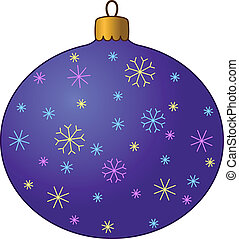 Christmas ball with snowflakes, contours