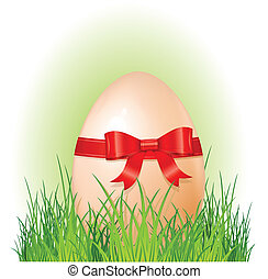 easter big egg with bow on green grass, holliday vector...