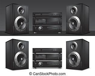 music center - Audio system, hi-fi music center, vector...