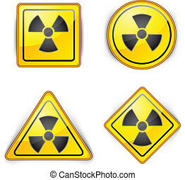 nuclear symbol, carefully dangerously, radioactive waste,...