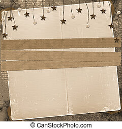 Grunge slide from grunge papers with beads and stars