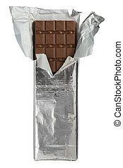 Chocolate bar in foil wrapper - A photo of a large bar of...