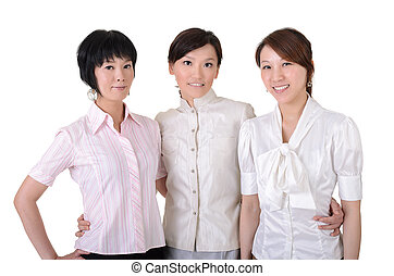 Cheerful business team with three Asian happy businesswomen,...