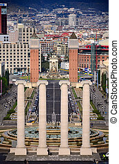 Four columns and Plaza de Espana, view from National Art...