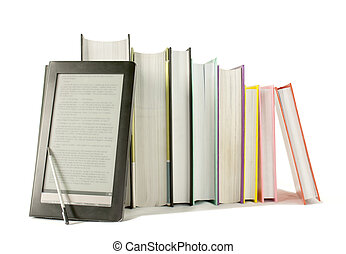 Row of printed books with electronic book reader on white...