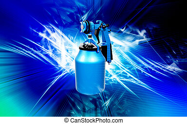 Nozzle spray gun - Digital illustration of nozzle spray gun...