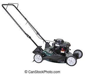 Lawn Mower Isolated - Power lawn mower isolated on a white...