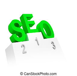 letters SEO on the pedestal on white background