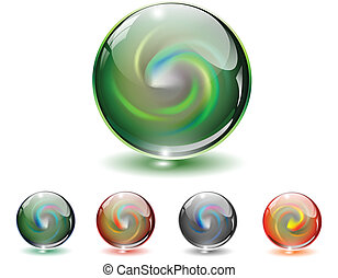 Crystal, glass sphere vector. - Crystal, glass sphere with...