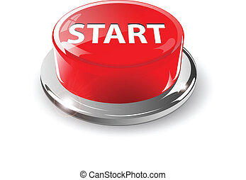 Start button, 3d red vector.