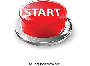 Start button, 3d red vector.