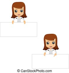 set of funny cartoon businesswoman in various poses for use...