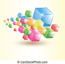 Abstract background, trasparent colorful glass cubes, vector...