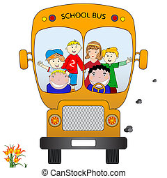 school bus with children, abstract vector art illustration