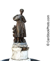 old soviet girl with rabbits sculpt