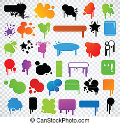 Variety Of Modern Colored Grunge Vector - Set of grungy...
