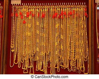oro, collares, Bangkok, Tailandia
