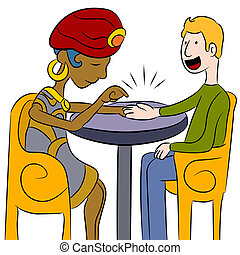 Psychic Palm Reader - An image of a psychic palm reader with...