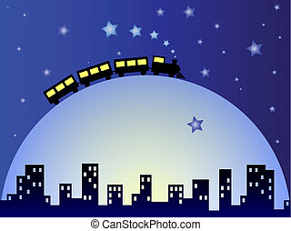 Dreamy train - Childish illustration of train on the moon