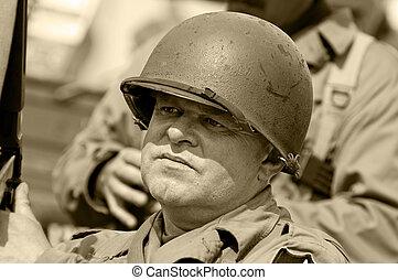 American Veteran - American veteran in helmet, vintage style...