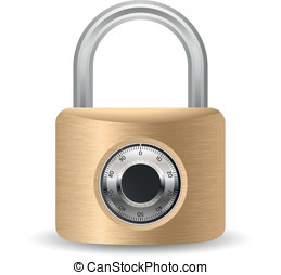 Metallic combination padlock. Vector illustration