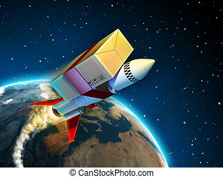 Fast delivery - Package tied to a rocket flying to its...