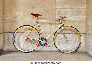 Fixed gear bicycle - Vintage fixed gear bicycle with a pink...