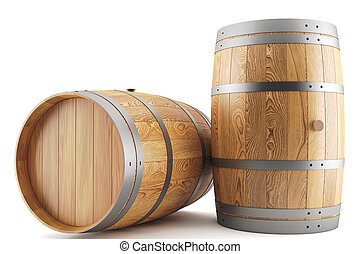 wine barrels - 3d render of two wine barrels