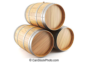 group of wine barrels - 3d render of a group of wine barrels