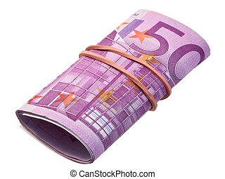 five-hundredth banknotes under rubber band