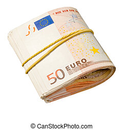 50-euro banknotes under rubber band