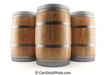 group of three wine barrels - 3d render of a group of three...
