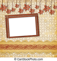 Vintage album with frame and ornate lace