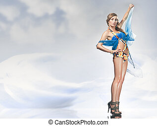 Stunning blonde posing over sky background