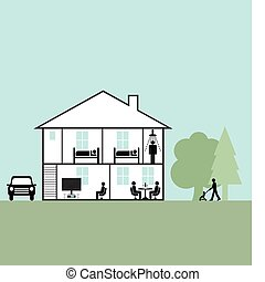 family home - Cross section through a family home fully...