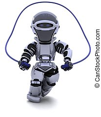 Robot skipping with rope - 3D render of a Robot skipping...