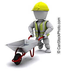 Builder with a wheel barrow - 3D render of a Builder with a...