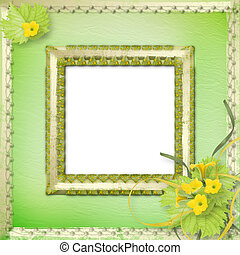Grunge wooden frame with flowers pumpkins and ribbons