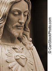 Sepia-toned, Jesus, estátua