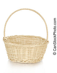 wicker basket with reflection on white background