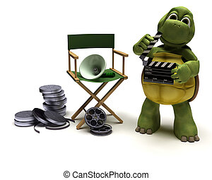tortoise with a directors chair - 3D render of a tortoise...