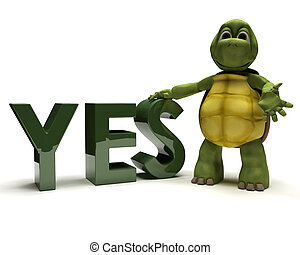 tortoise with a yes sign - 3D render of a tortoise with a...