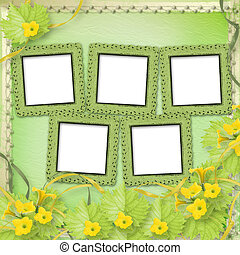 Grunge paper frames with flowers pumpkins and ribbons