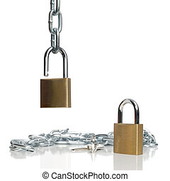 Padlocks and chain isolated on white background.